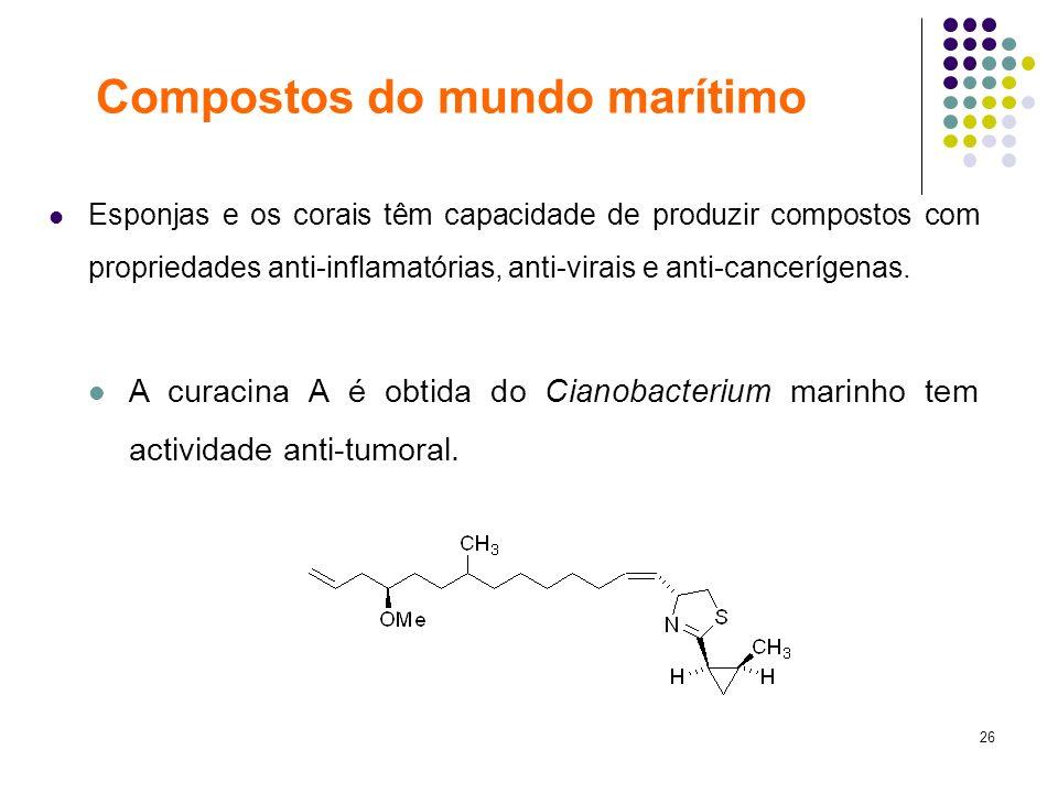 26 Esponjas e os corais têm capacidade de produzir compostos com propriedades anti-inflamatórias, anti-virais e anti-cancerígenas. A curacina A é obti