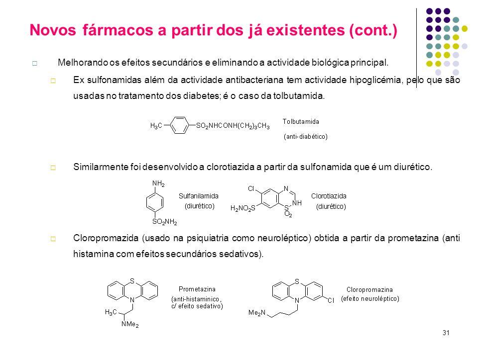 31 Novos fármacos a partir dos já existentes (cont.) Melhorando os efeitos secundários e eliminando a actividade biológica principal. Ex sulfonamidas