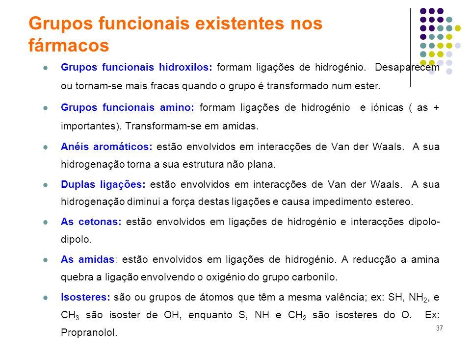 37 Grupos funcionais existentes nos fármacos Grupos funcionais hidroxilos: formam ligações de hidrogénio. Desaparecem ou tornam-se mais fracas quando