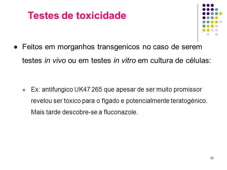 39 Feitos em morganhos transgenicos no caso de serem testes in vivo ou em testes in vitro em cultura de células: Ex: antifungico UK47 265 que apesar d
