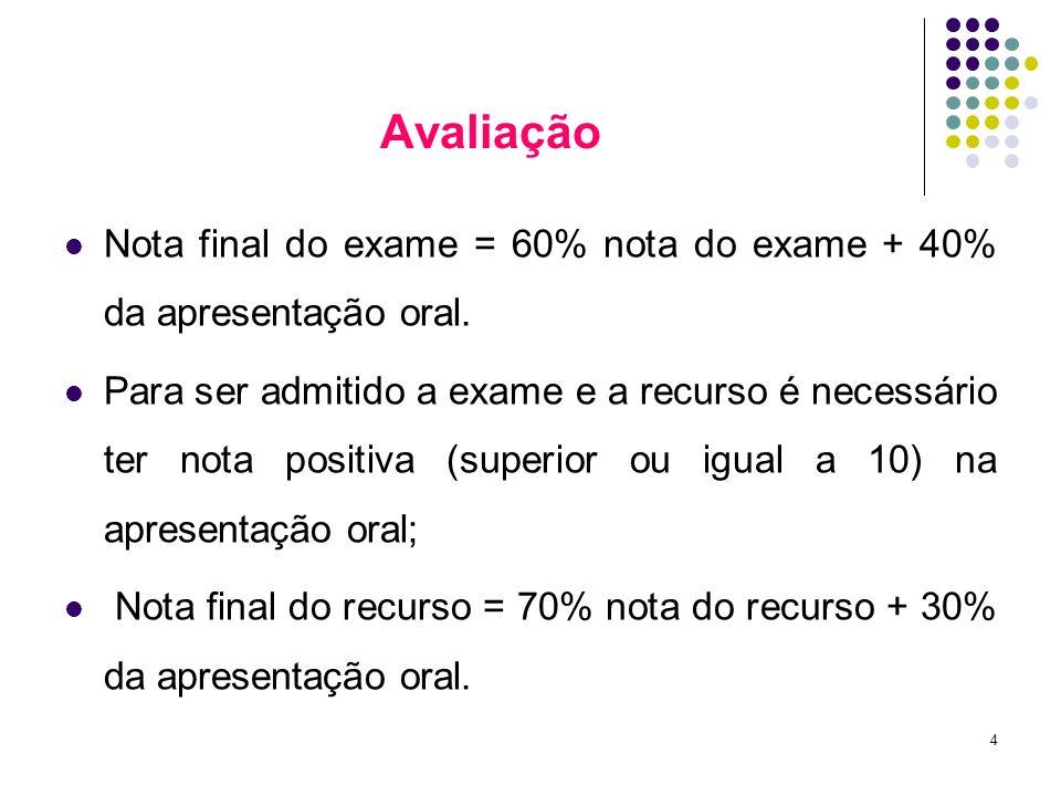 4 Avaliação Nota final do exame = 60% nota do exame + 40% da apresentação oral. Para ser admitido a exame e a recurso é necessário ter nota positiva (