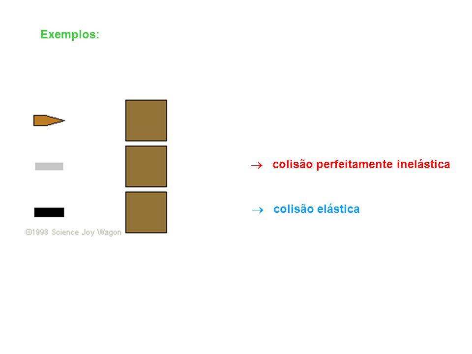 colisão elástica colisão perfeitamente inelástica Exemplos: