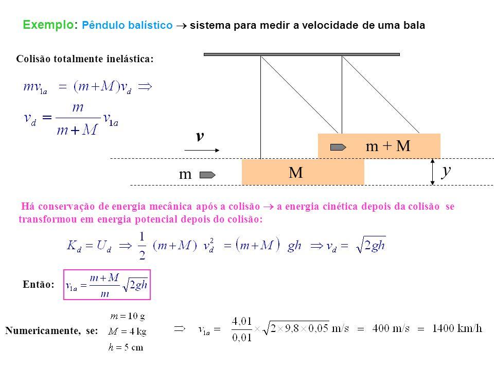 Exemplo: Pêndulo balístico sistema para medir a velocidade de uma bala Há conservação de energia mecânica após a colisão a energia cinética depois da