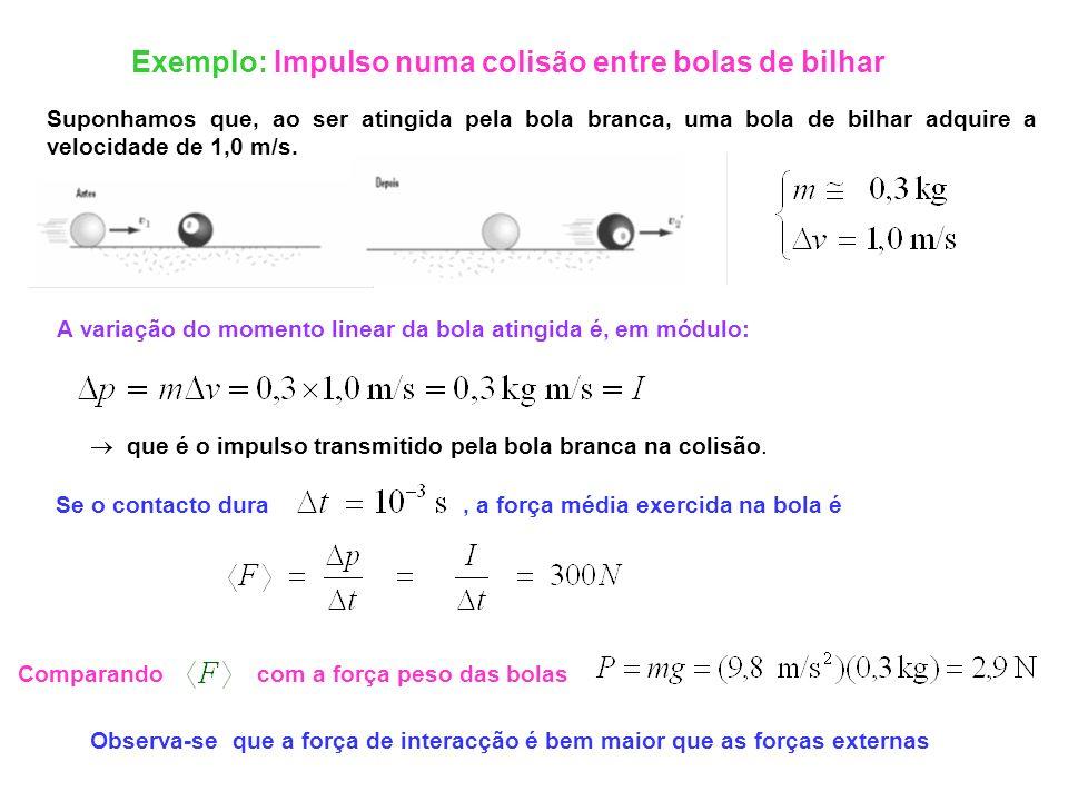 Comparando com a força peso das bolas Exemplo: Impulso numa colisão entre bolas de bilhar Suponhamos que, ao ser atingida pela bola branca, uma bola d