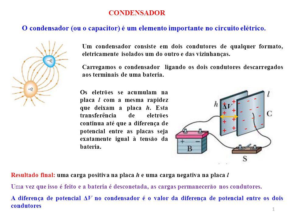 CONDENSADOR 1 O condensador (ou o capacitor) é um elemento importante no circuito elétrico. Um condensador consiste em dois condutores de qualquer for