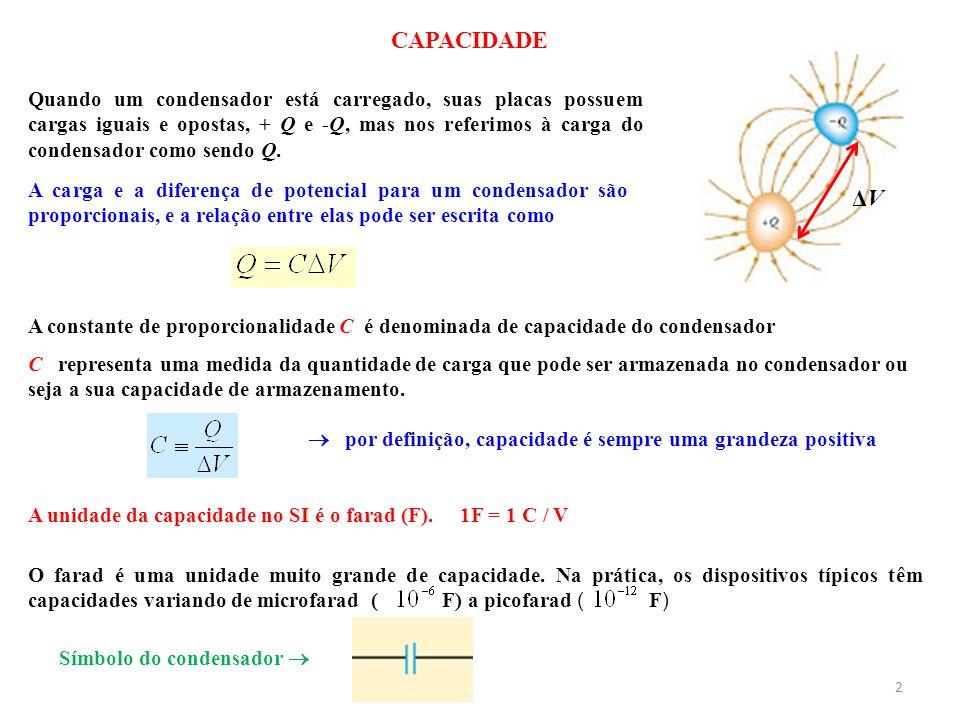 por definição, capacidade é sempre uma grandeza positiva A unidade da capacidade no SI é o farad (F). 1F = 1 C / V O farad é uma unidade muito grande