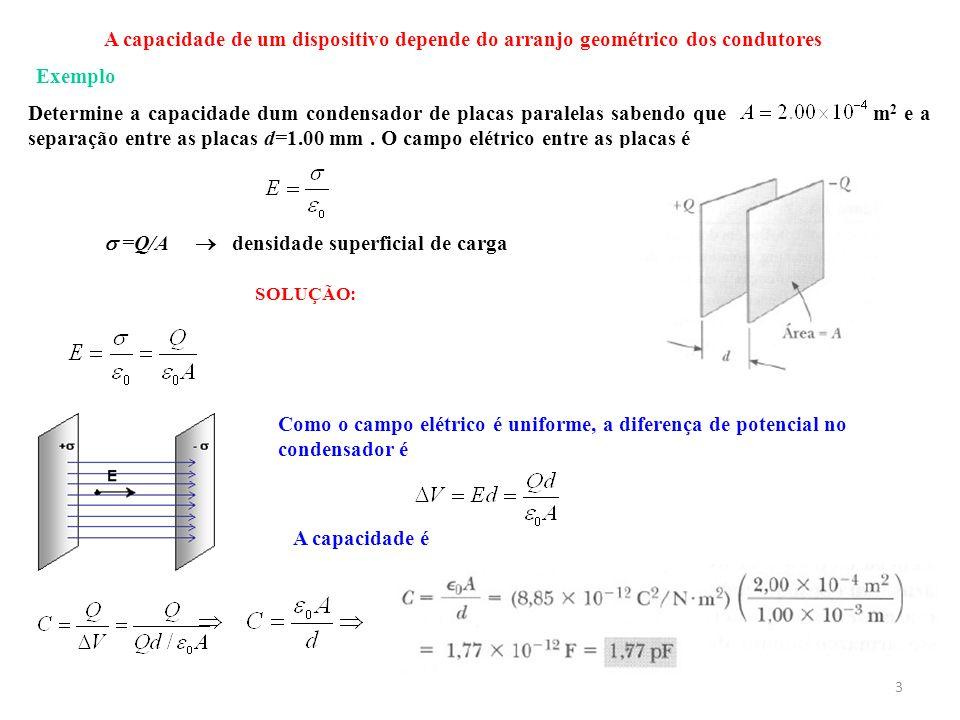 Determine a capacidade dum condensador de placas paralelas sabendo que m 2 e a separação entre as placas d=1.00 mm. O campo elétrico entre as placas é