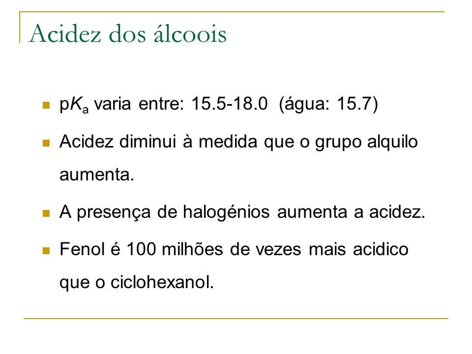 Acidez dos álcoois pK a varia entre: 15.5-18.0 (água: 15.7) Acidez diminui à medida que o grupo alquilo aumenta. A presença de halogénios aumenta a ac