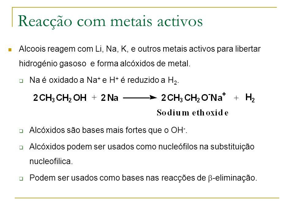 Reacção com metais activos Alcoois reagem com Li, Na, K, e outros metais activos para libertar hidrogénio gasoso e forma alcóxidos de metal. Na é oxid