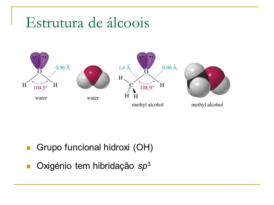 Estrutura de álcoois Grupo funcional hidroxi (OH) Oxigénio tem hibridação sp 3