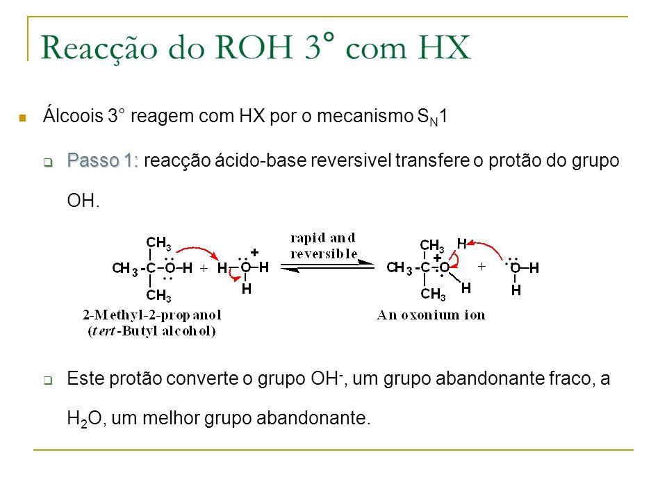 Reacção do ROH 3° com HX Álcoois 3° reagem com HX por o mecanismo S N 1 Passo 1: Passo 1: reacção ácido-base reversivel transfere o protão do grupo OH