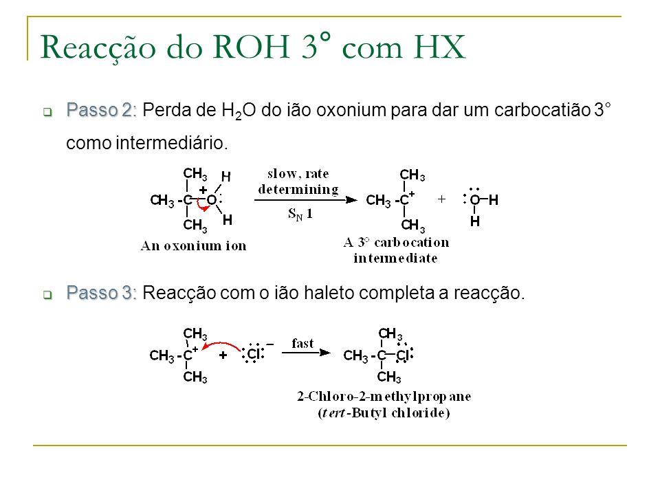 Reacção do ROH 3° com HX Passo 2: Passo 2: Perda de H 2 O do ião oxonium para dar um carbocatião 3° como intermediário. Passo 3: Passo 3: Reacção com