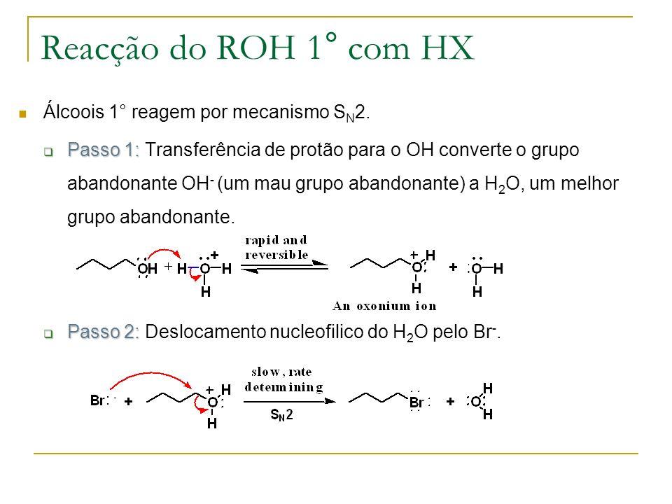 Reacção do ROH 1° com HX Álcoois 1° reagem por mecanismo S N 2. Passo 1: Passo 1: Transferência de protão para o OH converte o grupo abandonante OH -