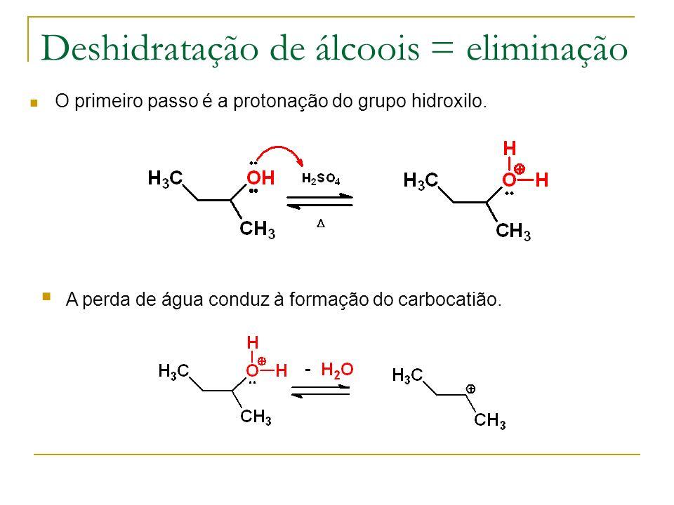 Deshidratação de álcoois = eliminação O primeiro passo é a protonação do grupo hidroxilo. A perda de água conduz à formação do carbocatião.