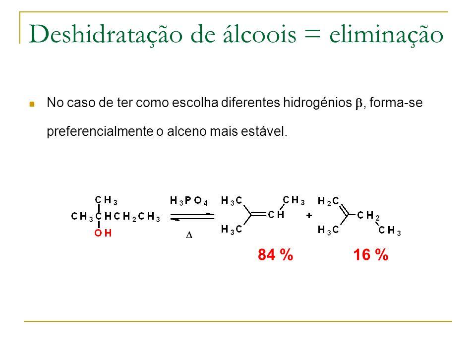 Deshidratação de álcoois = eliminação No caso de ter como escolha diferentes hidrogénios, forma-se preferencialmente o alceno mais estável. 84 %16 %