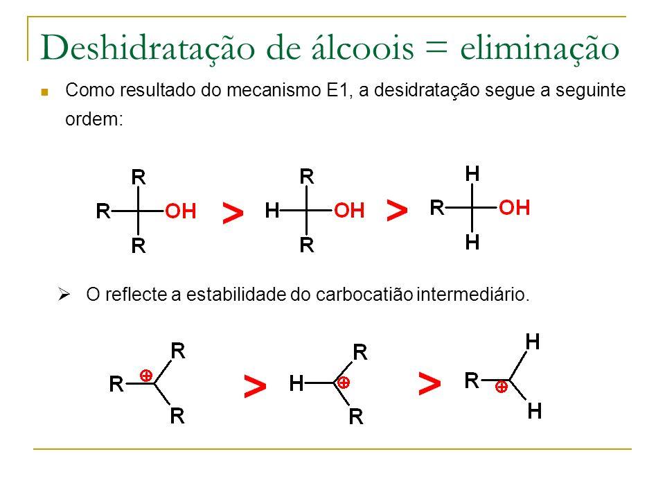 Deshidratação de álcoois = eliminação Como resultado do mecanismo E1, a desidratação segue a seguinte ordem: O reflecte a estabilidade do carbocatião