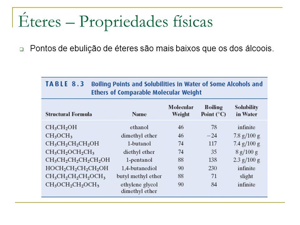 Éteres – Propriedades físicas Pontos de ebulição de éteres são mais baixos que os dos álcoois.