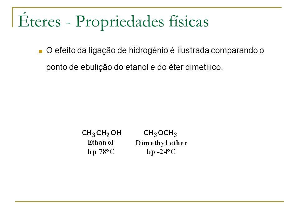 Éteres - Propriedades físicas O efeito da ligação de hidrogénio é ilustrada comparando o ponto de ebulição do etanol e do éter dimetilico.