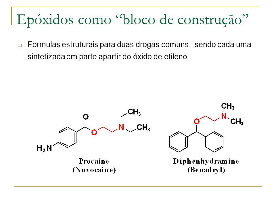 Epóxidos como bloco de construção Formulas estruturais para duas drogas comuns, sendo cada uma sintetizada em parte apartir do óxido de etileno.