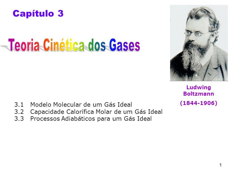 1 Capítulo 3 3.1 Modelo Molecular de um Gás Ideal 3.2 Capacidade Calorífica Molar de um Gás Ideal 3.3 Processos Adiabáticos para um Gás Ideal Ludwing