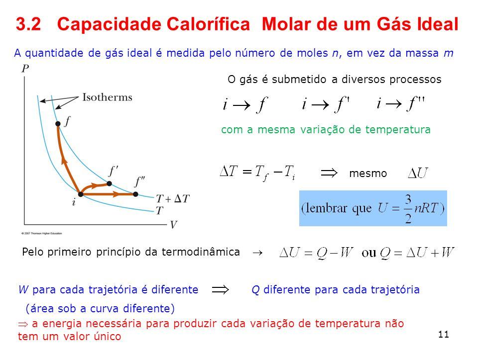 3.2 Capacidade Calorífica Molar de um Gás Ideal A quantidade de gás ideal é medida pelo número de moles n, em vez da massa m O gás é submetido a diver
