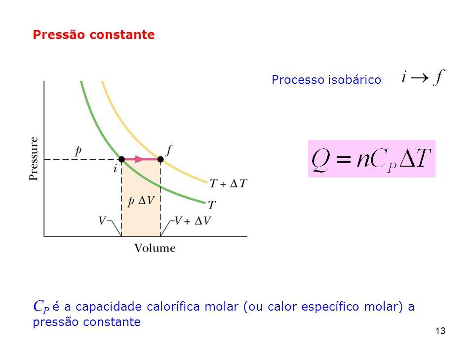 13 Pressão constante Processo isobárico C P é a capacidade calorífica molar (ou calor específico molar) a pressão constante