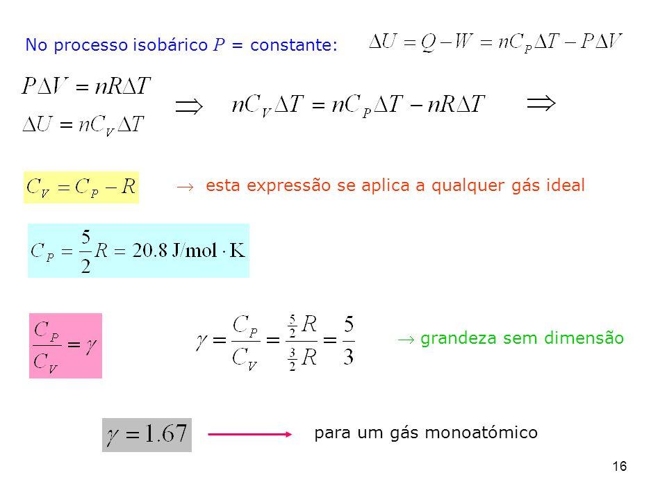 16 No processo isobárico P = constante: esta expressão se aplica a qualquer gás ideal grandeza sem dimensão para um gás monoatómico