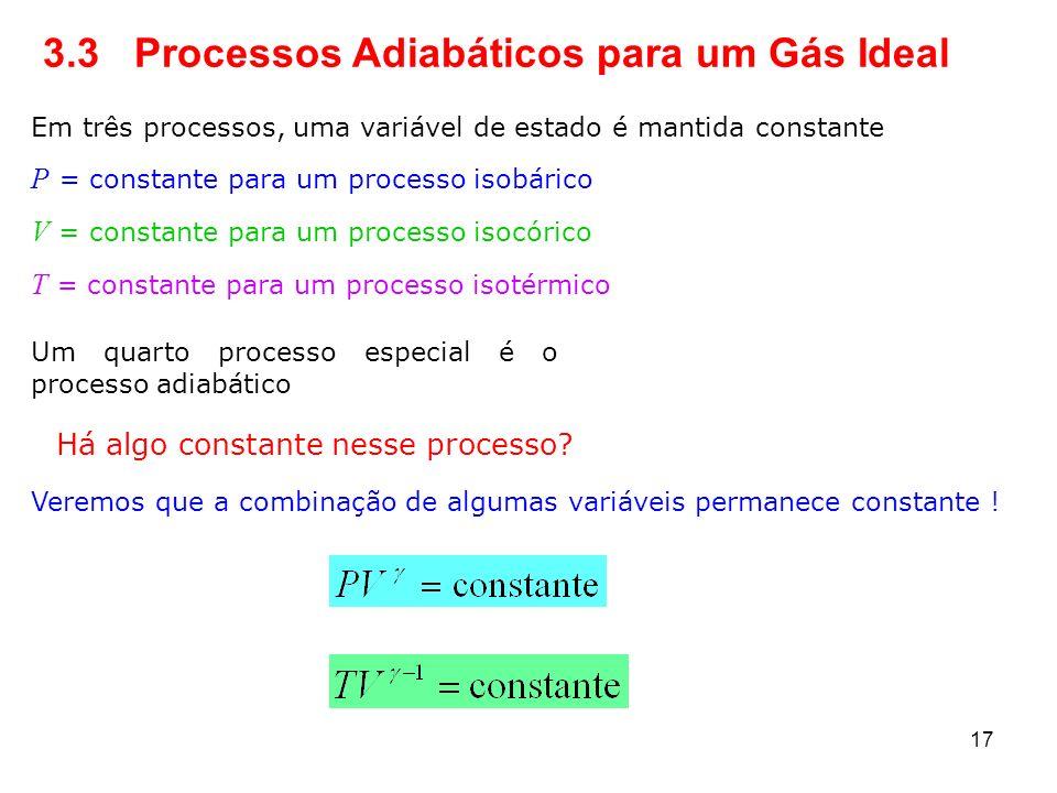 3.3 Processos Adiabáticos para um Gás Ideal Em três processos, uma variável de estado é mantida constante P = constante para um processo isobárico V =
