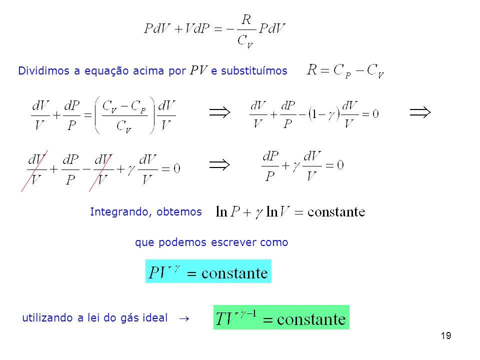 19 Dividimos a equação acima por PV e substituímos Integrando, obtemos que podemos escrever como utilizando a lei do gás ideal