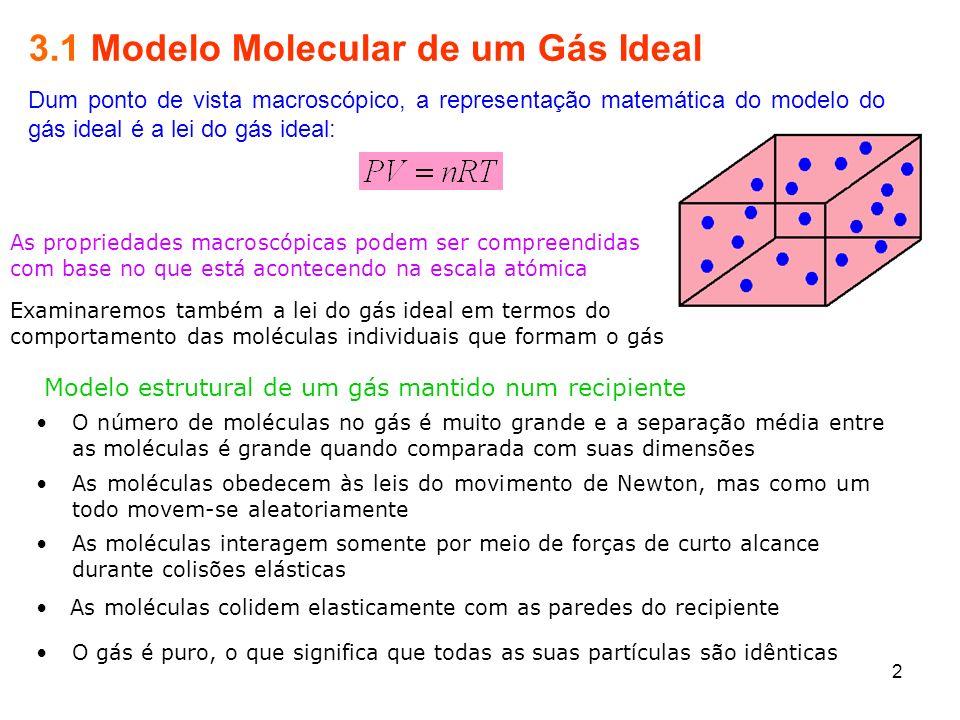 3.1 Modelo Molecular de um Gás Ideal Dum ponto de vista macroscópico, a representação matemática do modelo do gás ideal é a lei do gás ideal: As propr