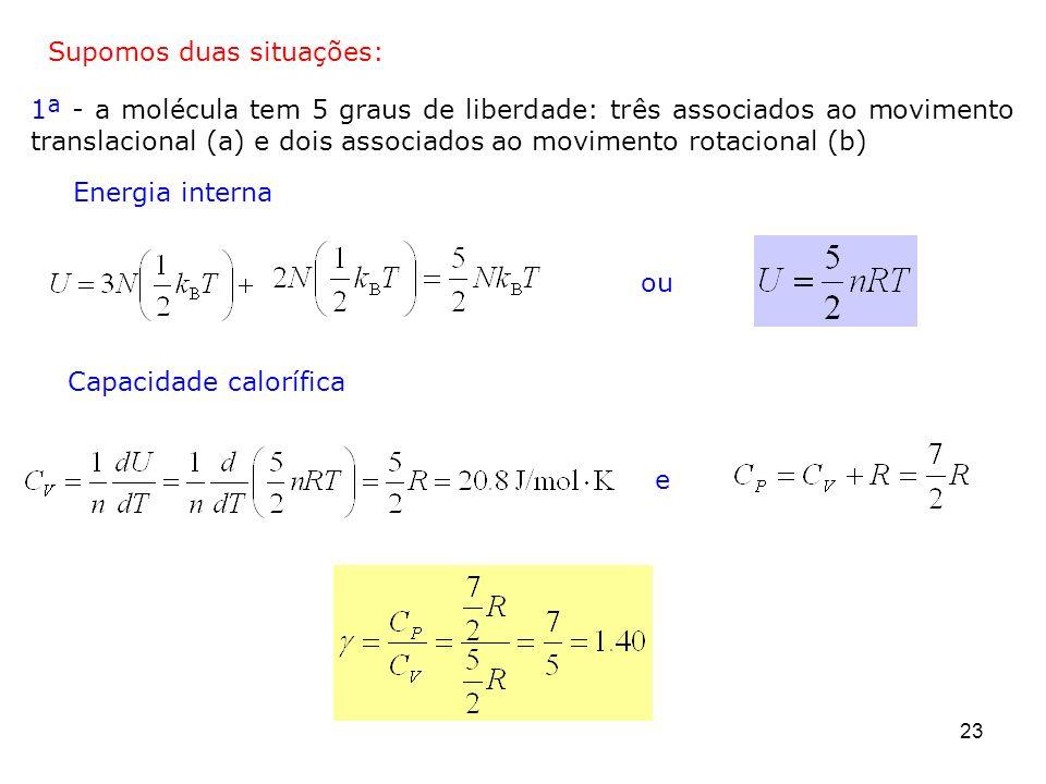 23 1ª - a molécula tem 5 graus de liberdade: três associados ao movimento translacional (a) e dois associados ao movimento rotacional (b) Supomos duas