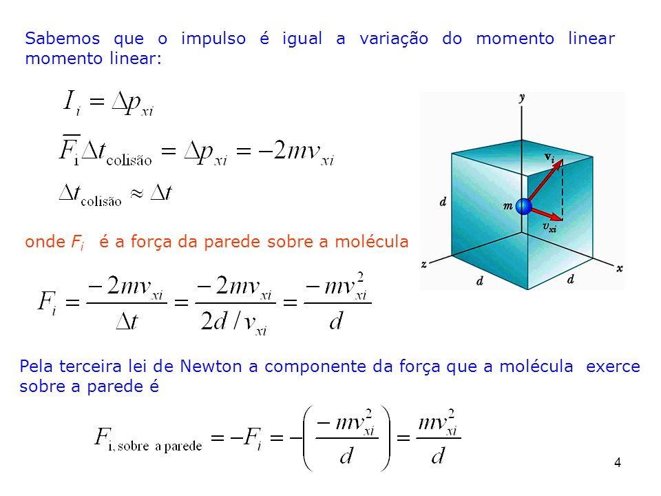 4 Pela terceira lei de Newton a componente da força que a molécula exerce sobre a parede é Sabemos que o impulso é igual a variação do momento linear