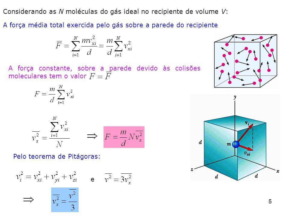Considerando as N moléculas do gás ideal no recipiente de volume V: A força média total exercida pelo gás sobre a parede do recipiente 5 A força const