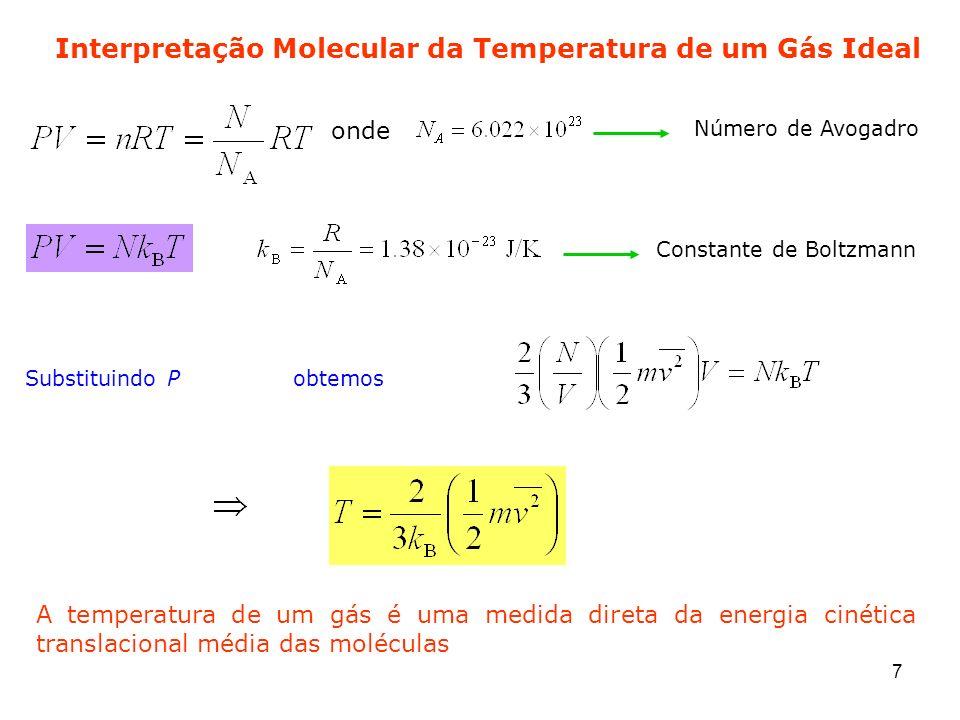 7 Interpretação Molecular da Temperatura de um Gás Ideal onde Número de Avogadro Constante de Boltzmann Substituindo Pobtemos A temperatura de um gás
