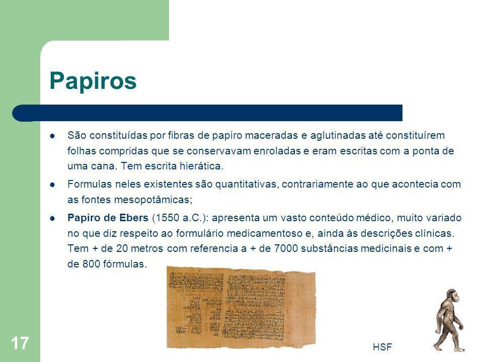 HSF 17 Papiros São constituídas por fibras de papiro maceradas e aglutinadas até constituírem folhas compridas que se conservavam enroladas e eram esc