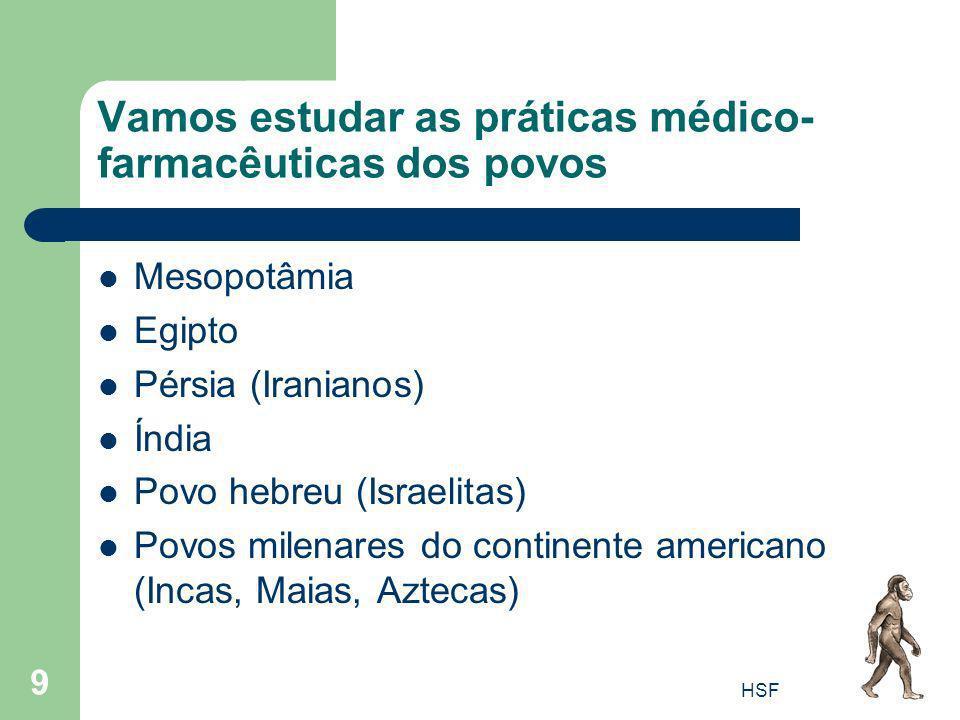 HSF 9 Vamos estudar as práticas médico- farmacêuticas dos povos Mesopotâmia Egipto Pérsia (Iranianos) Índia Povo hebreu (Israelitas) Povos milenares d