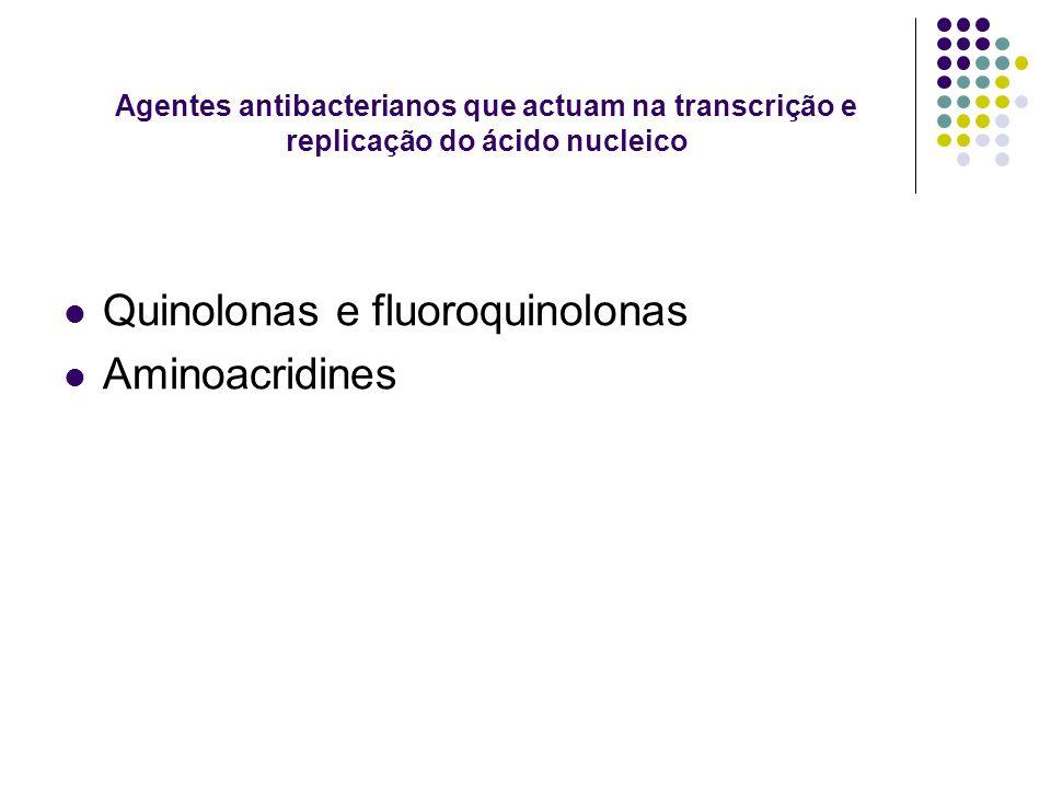 Agentes antibacterianos que actuam na transcrição e replicação do ácido nucleico Quinolonas e fluoroquinolonas Aminoacridines