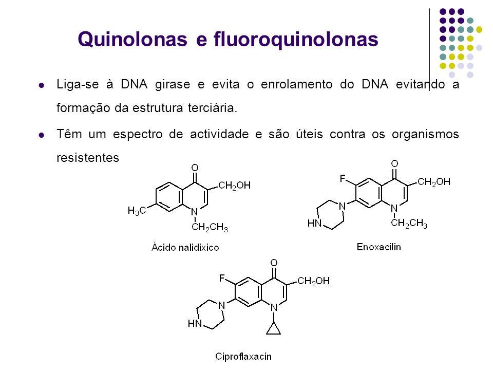 Quinolonas e fluoroquinolonas Liga-se à DNA girase e evita o enrolamento do DNA evitando a formação da estrutura terciária. Têm um espectro de activid