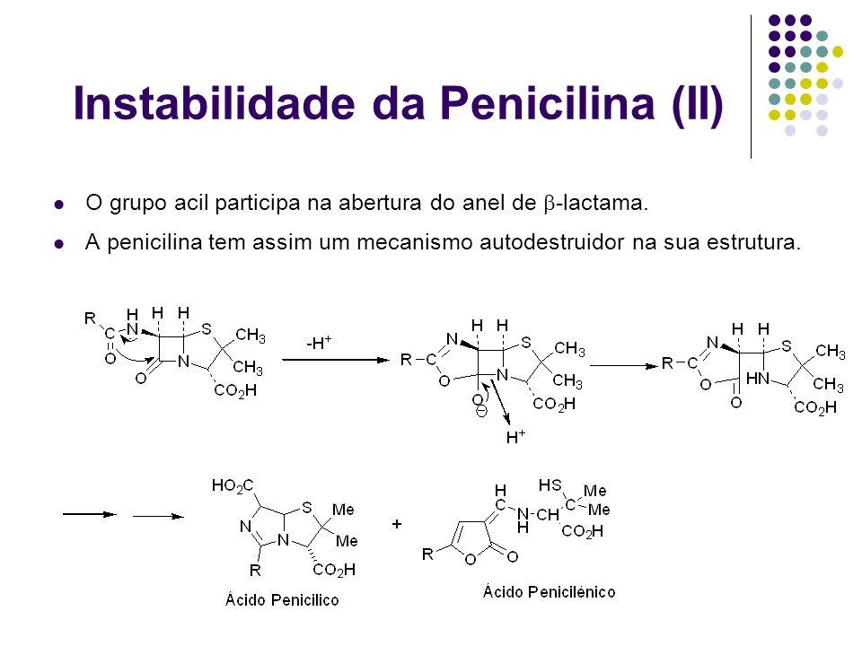 Instabilidade da Penicilina (II) O grupo acil participa na abertura do anel de -lactama. A penicilina tem assim um mecanismo autodestruidor na sua est