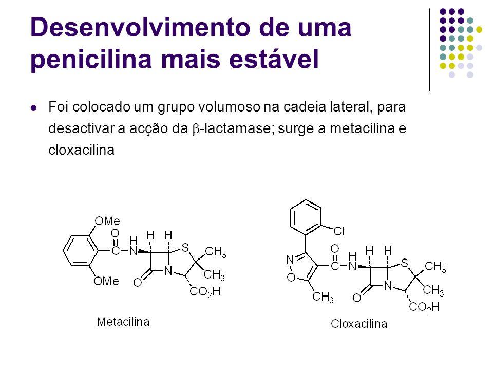 Desenvolvimento de uma penicilina mais estável Foi colocado um grupo volumoso na cadeia lateral, para desactivar a acção da -lactamase; surge a metaci