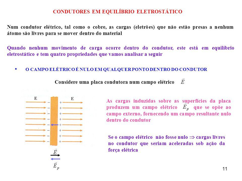 11 CONDUTORES EM EQUILÍBRIO ELETROSTÁTICO Num condutor elétrico, tal como o cobre, as cargas (eletrões) que não estão presas a nenhum átomo são livres