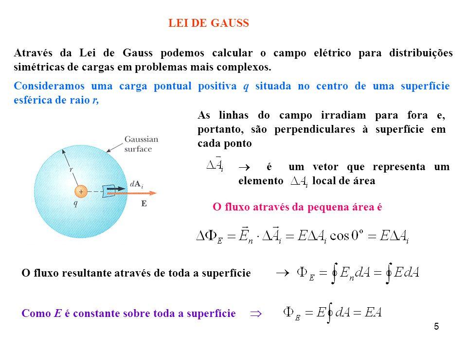 5 é um vetor que representa um elemento local de área LEI DE GAUSS Através da Lei de Gauss podemos calcular o campo elétrico para distribuições simétr