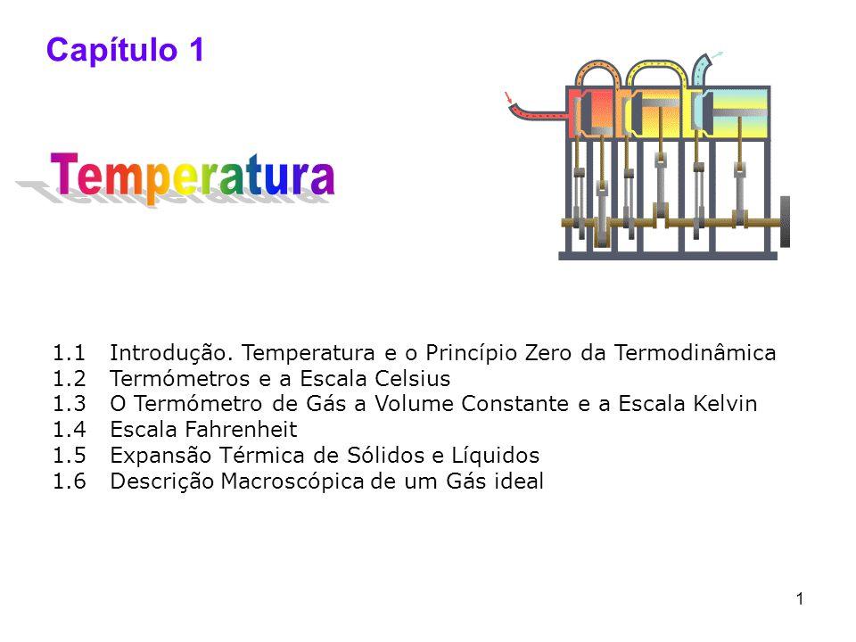 1 Capítulo 1 1.1 Introdução. Temperatura e o Princípio Zero da Termodinâmica 1.2 Termómetros e a Escala Celsius 1.3 O Termómetro de Gás a Volume Const