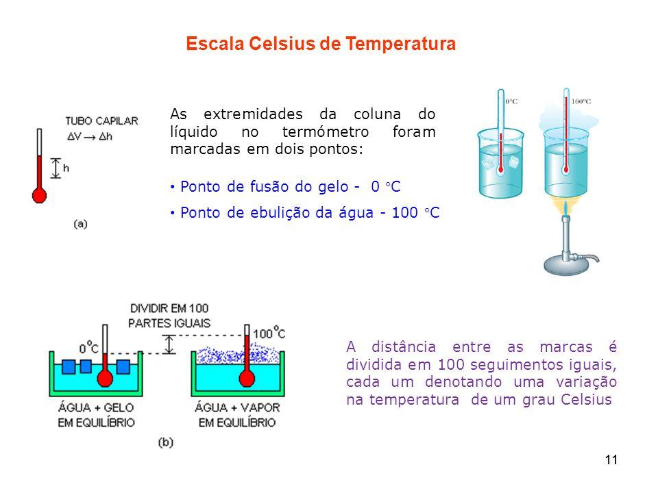 11 Escala Celsius de Temperatura Ponto de fusão do gelo - 0 C Ponto de ebulição da água - 100 C A distância entre as marcas é dividida em 100 seguimen