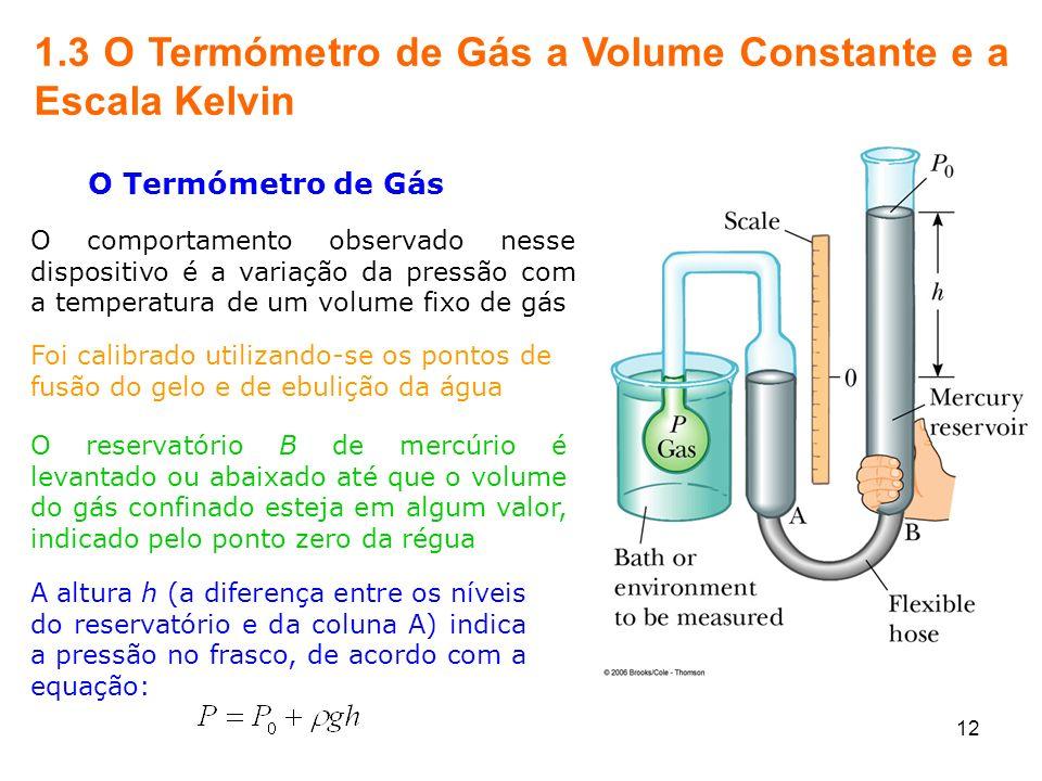 12 1.3 O Termómetro de Gás a Volume Constante e a Escala Kelvin O Termómetro de Gás O comportamento observado nesse dispositivo é a variação da pressã