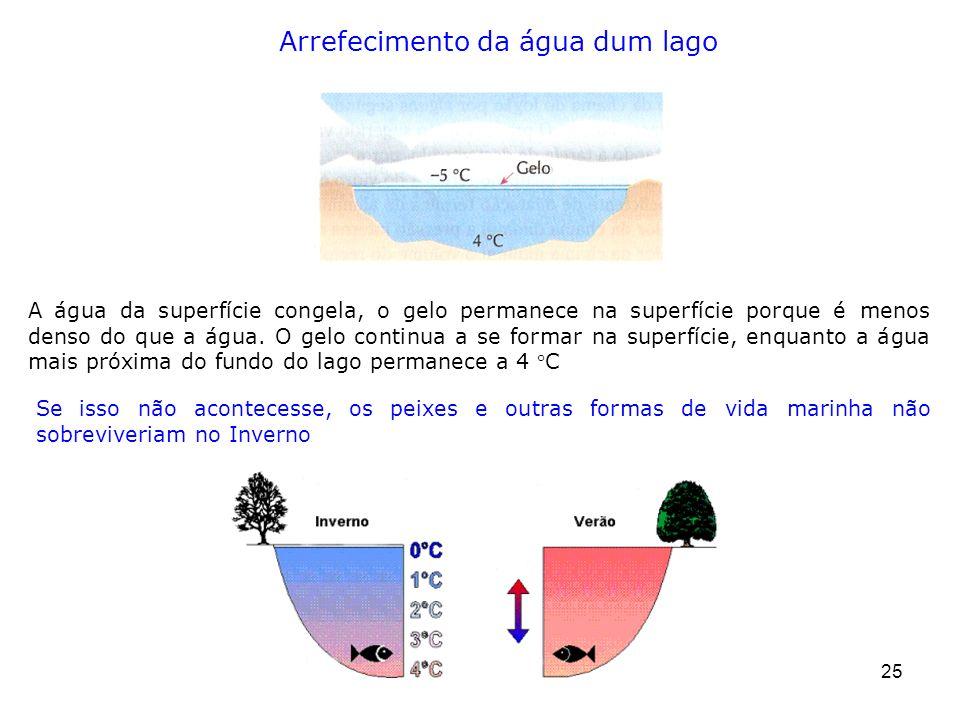25 A água da superfície congela, o gelo permanece na superfície porque é menos denso do que a água. O gelo continua a se formar na superfície, enquant