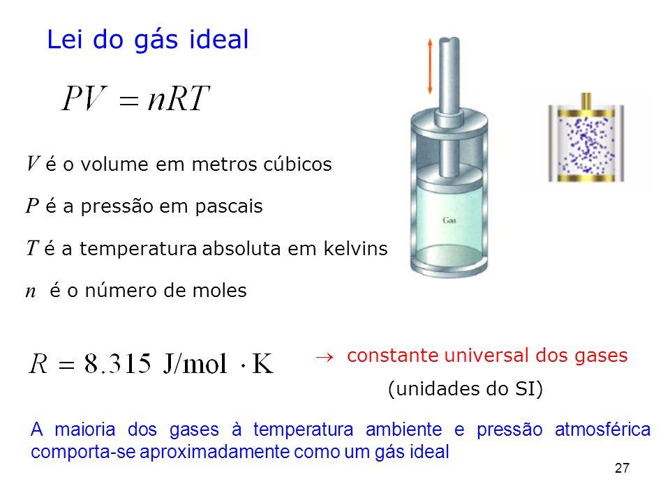 Lei do gás ideal T é a temperatura absoluta em kelvins n é o número de moles V é o volume em metros cúbicos P é a pressão em pascais 27 A maioria dos