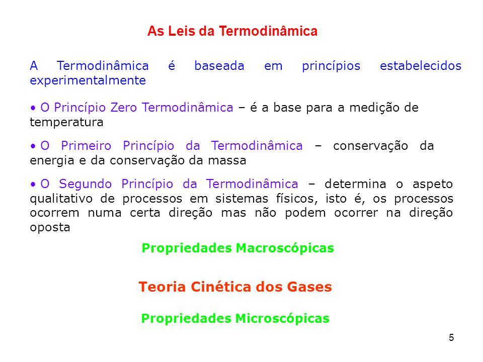 5 A Termodinâmica é baseada em princípios estabelecidos experimentalmente Teoria Cinética dos Gases Propriedades Microscópicas As Leis da Termodinâmic