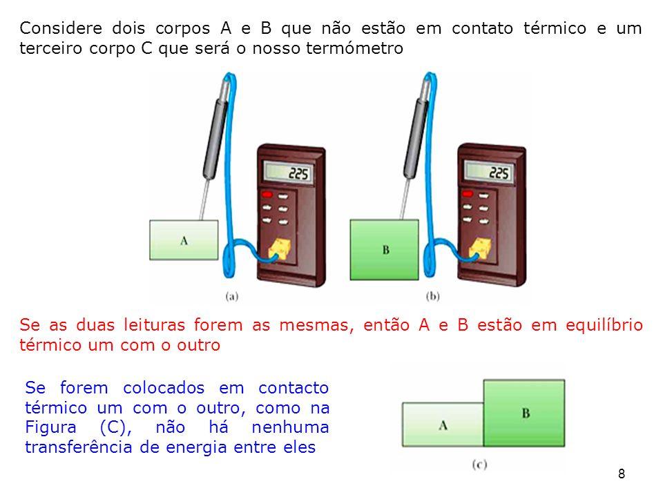 O Princípio Zero da termodinâmica (a lei do equilíbrio) Se os corpos A e B estiverem separadamente em equilíbrio térmico com um terceiro corpo C, então A e B estão em equilíbrio térmico entre si A C B C A B 9 A temperatura é a propriedade que determina se um corpo está em equilíbrio térmico com outros corpos Dois corpos em equilíbrio térmico entre si estão na mesma temperatura: