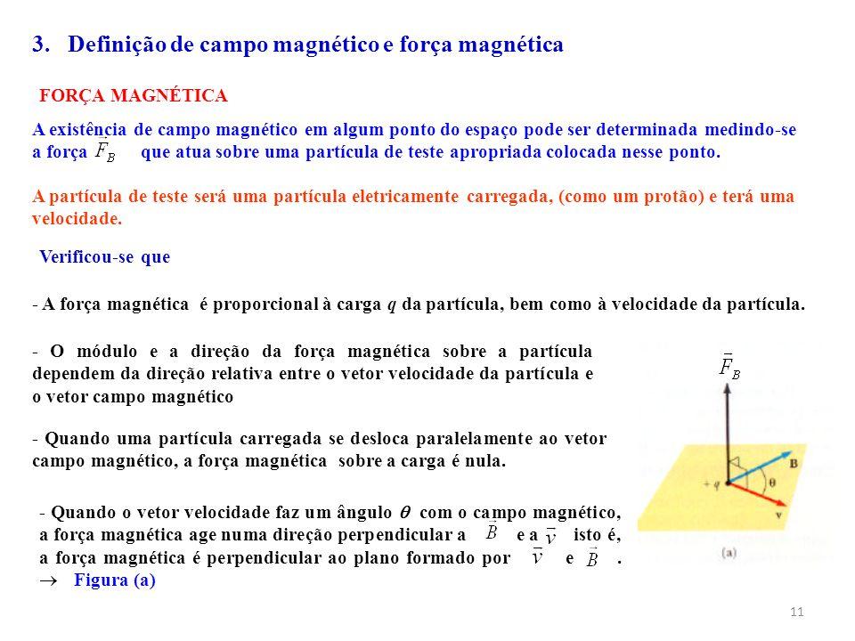 11 FORÇA MAGNÉTICA A existência de campo magnético em algum ponto do espaço pode ser determinada medindo-se a força que atua sobre uma partícula de te